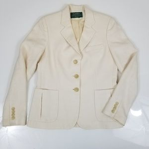 Ralph Lauren Textured Ivory Gold Buttons Jacket B8